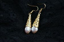 Dr. Pearl 9-10 mm Purple Pearl Dangle Earring with Gold Plated hook