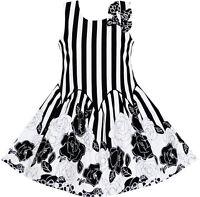 Girls Dress Sleeveless Black White Stripes Flower Bow Tie Age 7-14