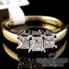 14K Oro Amarillo Corte Princesa Aniversario Compromiso Diamante 3