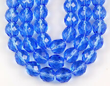25pcs Sapphire Blue Czech Round Faceted Fire Polished Loose Glass Beads 10mm