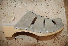 Beige Suede UGG AUSTRALIA Sheepskin Insole Strappy Slides US 7