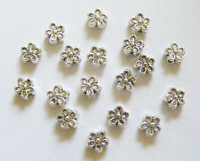 30 Metal Antique Silver Flower Spacer Beads - 7mm