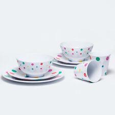 Barel Polka Dot & White 8 Piece Melamine Dinner Set - Tumblers, Bowls, & Plates