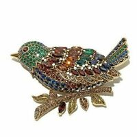 "Heidi Daus ""Marquise Madness"" Crystal Bird Pin Green / Brown-Magnificent!!"