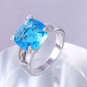 Radiant Blue Topaz 18ct White Gold GF Gift Wedding Gemstone Bride Ring Size 8-Q