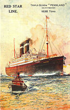 "Red Star Line Triple-Screw ""Pennland"" Steam Ship Poster Type Vertical Postcard"