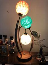 Vintage 60's Solid Teak Mid Century Modern Table Lamp 3 Lucite Spaghetti Shades