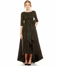 10 ADRIANNA PAPELL Black Beaded Bodice Taffeta High Low Ball Gown Dress NWT $349