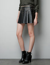NWT ZARA BLACK FAUX LEATHER GOLD STUD STUDDED MINI PEPLUM SKIRT M MEDIUM 10 6 36