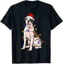 Funny American Bulldog Xmas Lights Gift Dog Dad Dog Mom T-Shirt Size S-5Xl