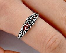 .925 Sterling Silver Ring size 6 Celtic Rose Leaf Heart Ladies Womens New pp49