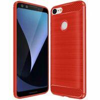 For Google Pixel 3 - Carbon Fiber Brushed TPU Case - Red