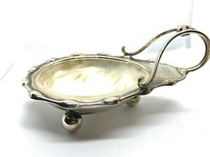 Antique Art Nouveau Marked Silver Plated Bonbon Dish With Frosted Glass Liner