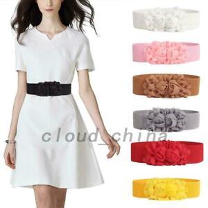 Trendy Women Ladies Rose Flower Elastic Dress Waist Band Stretchy Wide Belt