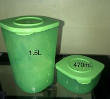 Tupperware Fresh N Cool Refrigerator Containers Set of 2 Lime Assorted Size New