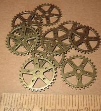"10 Ten 1"" Gears Pieces Antiqued BRASS Lot New Steampunk Watch Parts Clock Wheels"