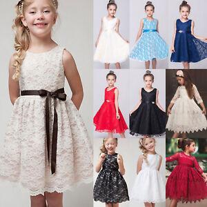 Kinder Mädchen Spitzekleid Hochzeit Partykleid Blumenmädchen Prinzessin Kleider