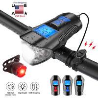 LED Bike Front Rear Tail Light USB Rechargeable Headlight Horn Bell Odometer