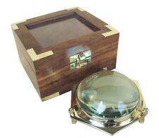 G4624: Maritime Dom Lupe, Kartentisch Lupe, Lesehilfe, Vergrößerungsglas Holzbox