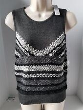 Chelsea28 Women Sweater Vest Gray White Black Glitter Sleeveless Small New