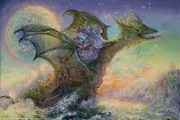 JOSEPHINE WALL ~ DRAGON SHIP ~ 24x36 FANTASY ART POSTER Fairy Fairies Dragons