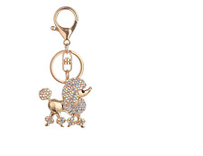 ADORABLE AURORA BOREALIS CRYSTAL POODLE KEY RING/PURSE CHARM! NEW!