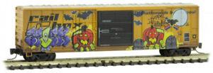 Micro-Trains MTL Z-Scale 50ft Rib Side Boxcar Railbox/Halloween Graffiti #50654