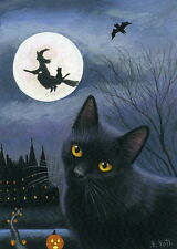 Black cat witch moon Halloween night limited edition aceo print of painting art