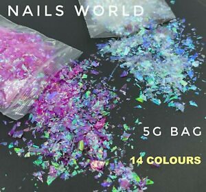5g Crushed Mylar Broken Glass Nail Art Glitter Holographic Mirror Flakes Foil