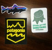 Patagonia Large Lot Of 3 Stickers 9x2 Snow Hike Adventure Skate Surf Vinyl Decal