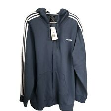 adidas full zip track top hoodie blue 2XL NWT three stripes