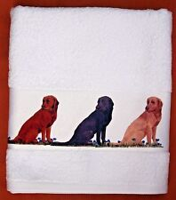 LABRADOR RETRIEVER DOGS LARGE HAND/GUEST COTTON TOWEL SANDRA COEN ARTIST PRINT
