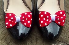 Red Shoe Clips 4 Shoes White Polkadot Spotty Dot Bows Pinup Rockabilly Burlesque