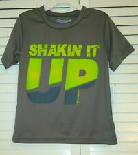 """BOY'S SHIRT, CHAMPION SIZE 5 """"SHAKIN IT UP"""", GRAY WITH GREEN LETTERING"""