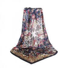 adfa1ca1159 Carré Foulard 100% Soie Thème Cachemire Bleu marine - Silk séide scarf shawl