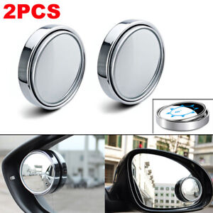 2pcs Chrome Adjustable Side Car Auto Blind Spot Wide Angle Rearview Mirror #035