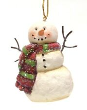 """2.7"""" HAND PAINTED RESIN SNOWMAN CHRISTMAS HOLIDAY ORNAMENT STYLE 3"""