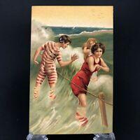 C. 1900s Antique Bathing Beauty Postcard Flirting w Man at the Beach 2 Woman Vtg