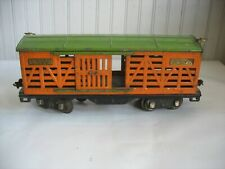 Vtg Lionel Lines 513 Standard Gauge Prewar Orange Stock Car w/Green Roof