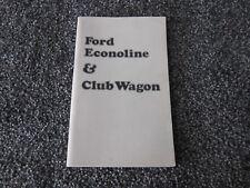 1974 FORD ECONOLINE/CLUB WAGON  OWNERS GUIDE MANUAL ORIGINAL OEM