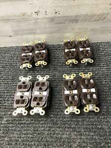 NOS Lot of 8 Hubbell Brown Residential Duplex Receptacle Outlet 125V 15A