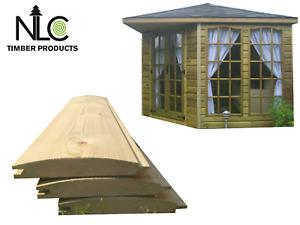 1m 22x125 shiplap/LOGLAP Treated Tanalised DIY Timber Wood Shed Cladding