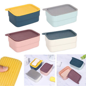 Leaking Sponge with Cleaning Brush Soapbox Soap Dish Soap Case Storage Box