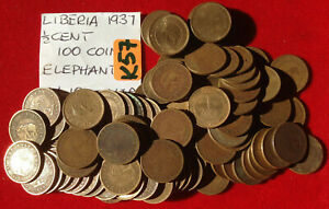 K57 Liberia; 100 circulated coins Lot - 1/2 Cent 1937 - African Elephant  KM#10