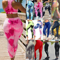 Womens Anti-Cellulite Yoga Pants High Waist PUSH UP Leggings Ruched Trousers GYM