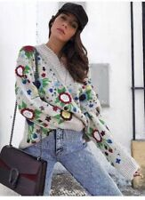 Zara oversized floral embroidered Jumper Sweater suéter flores bordado S M L