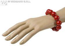 Ladies Large Red Beaded Bracelet 70's Vintage French Fancy Dress Jewellery