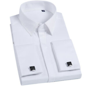 Mens Long Sleeve Shirts French Cuff Formal Business Dress With Cufflinks Shirts