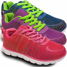 NEW LADIES NEON LACE UP SHOCK ABSORBING GYM SPORTS FITNESS TRAINERS SHOES SIZE