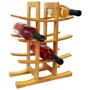 Bamboo Wine Rack | Bottle Holder | Free Vertical Standing | Organic Bamboo Wood